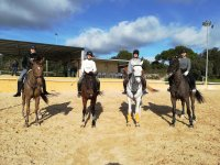 Equestrian students in the center