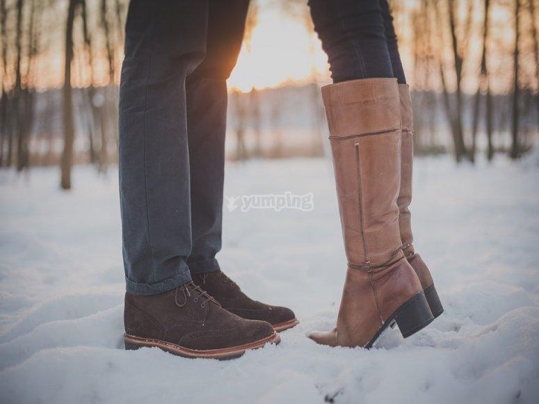 Momentos romanticos en la nieve