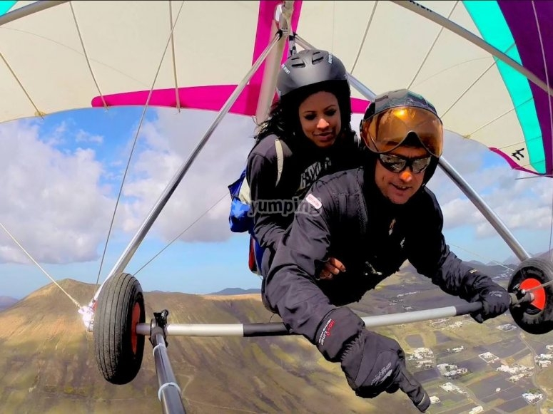 Flying over Lanzarote on a hang glider