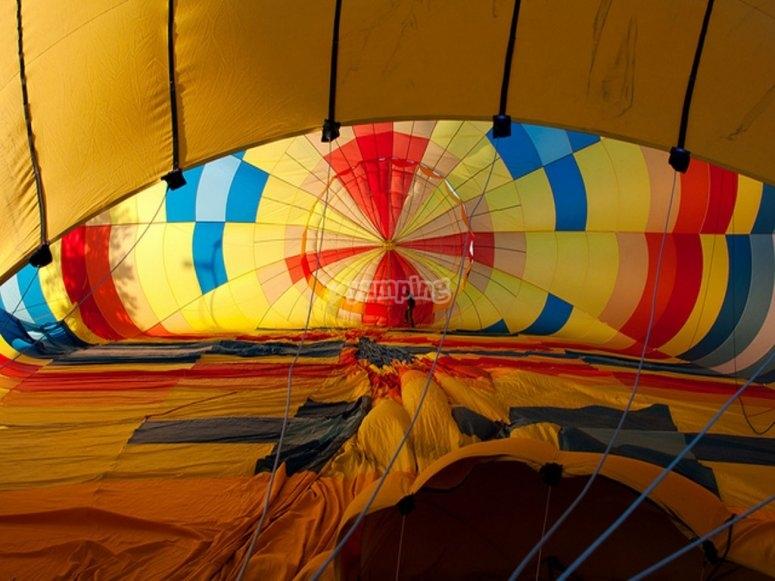 Inside the hot air balloon