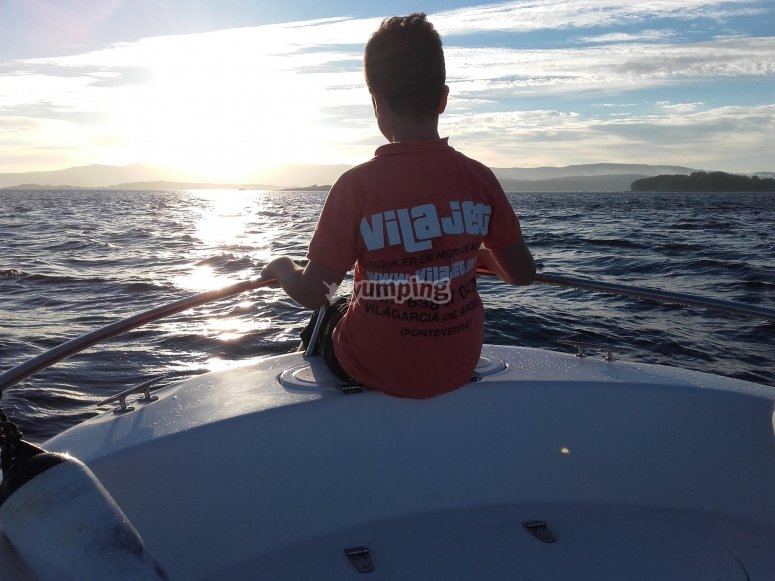 Admiring the sea from the motorboat