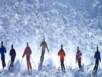 varias personas en linea esquiando