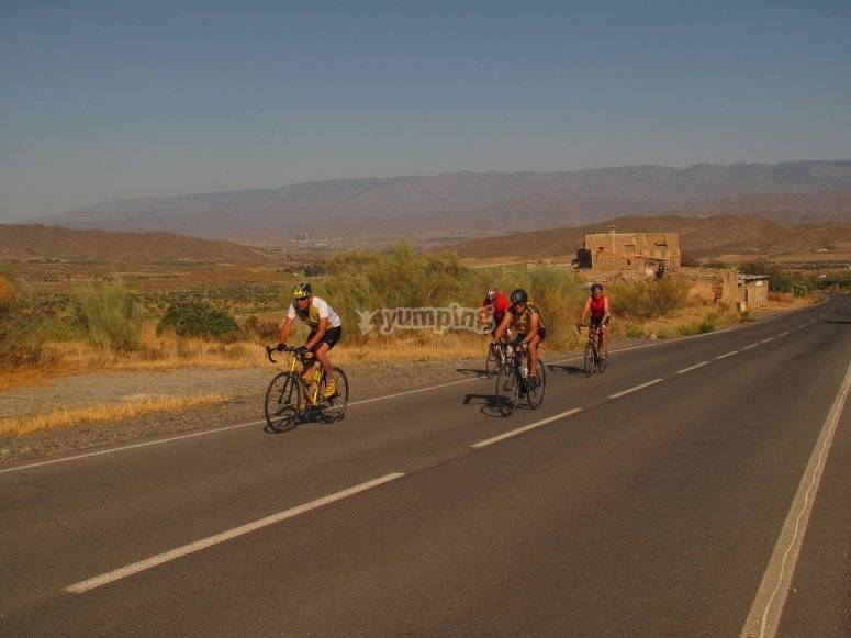 Group of cyclists in the province of Almería