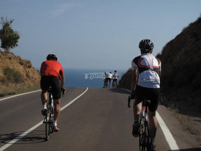 Cyclists on Almería's road