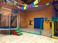 Trampoline and football area