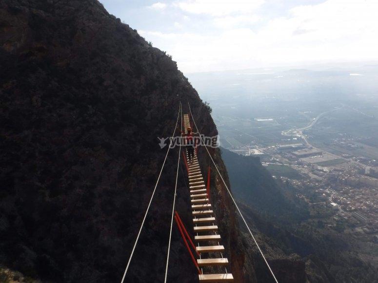 Suspension bridge in the via