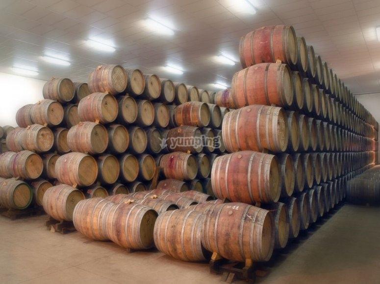 桶装在酿酒厂中