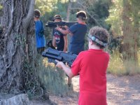 Peques playing laser tag