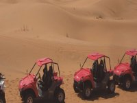 pink two-seater vehicles in the desert