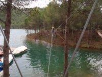 Zipwire 30 metres high, Benagéber reservoir