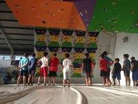 Mirando al muro de escalada