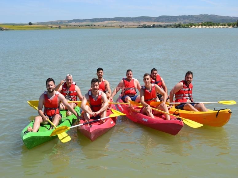 Posing in the kayaks
