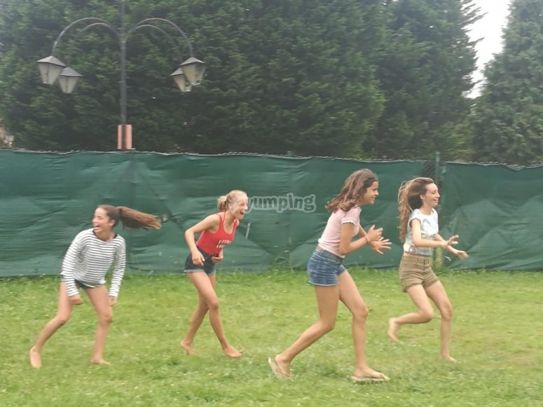 Running between laughs