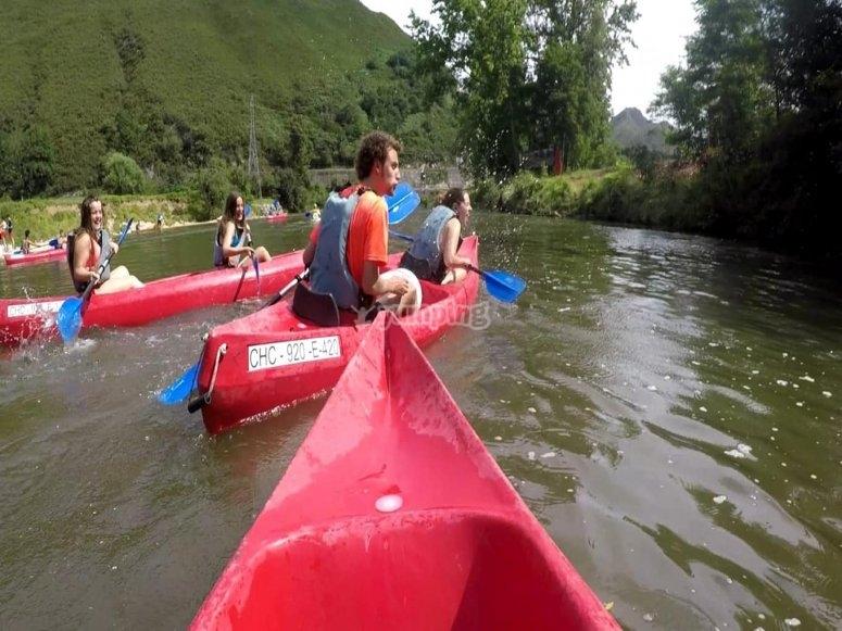 Descenso río Deva en el campamento de inglés