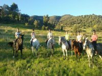 Horseback riding group in Cantabria
