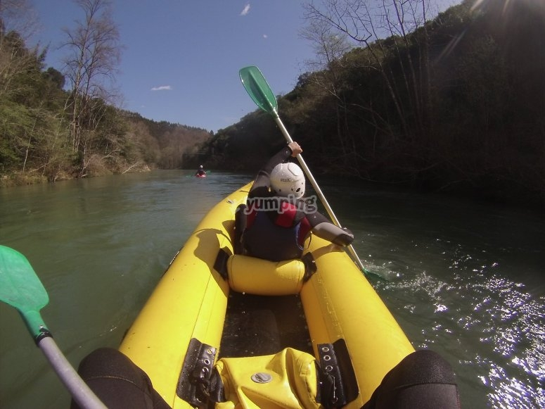 Rowing in the inflatable boat