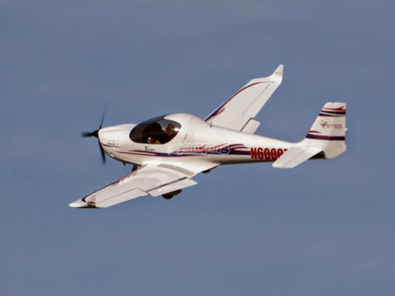 Light aircraft during the flight
