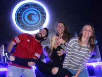 Group of friends in the escape room technology
