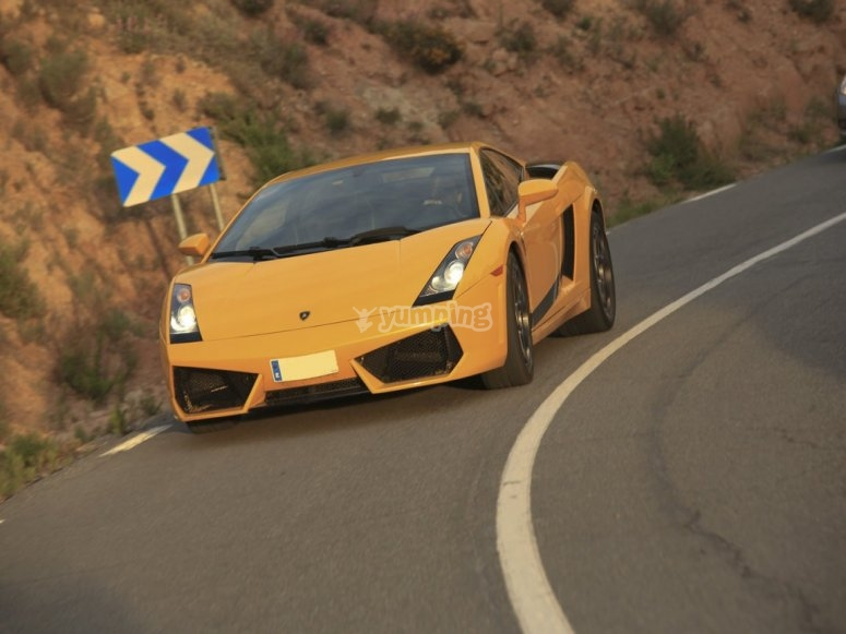 Driving over the road by the Lamborghini Gallardo