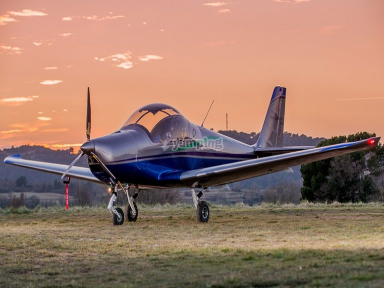Light aircraft at dusk