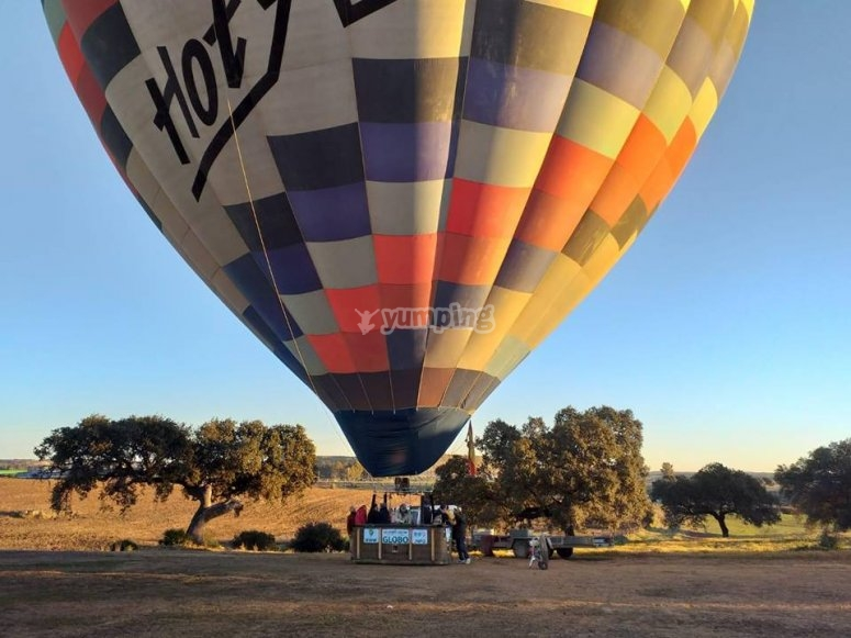 hot-air balloon about to take off