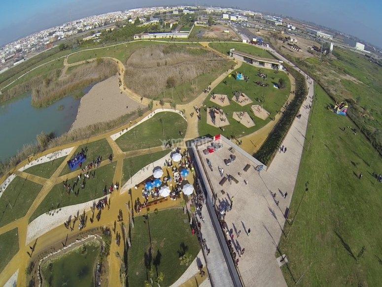 aerial views of Las Graveras Leisure Park