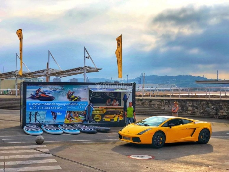 Yellow Lamborghini in Gijón