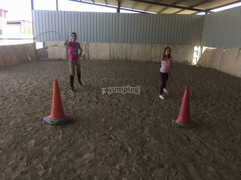 Practising horse riding techniques in La Rioja