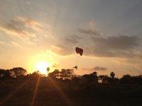 Paramotoring at sunset