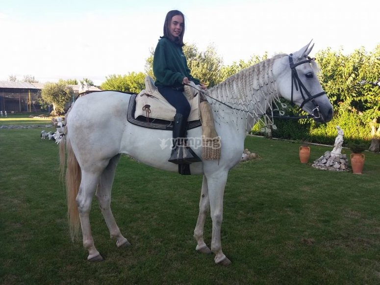 Posing with one of our horses in San Torcuato