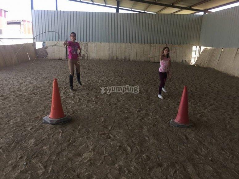 Practising horse riding techniques in La Rioja