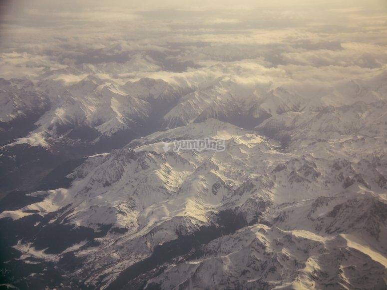 Vistas aereas de la nieve