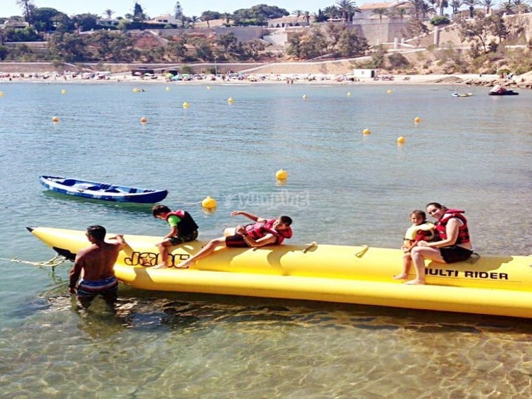 Banana boat by the beach
