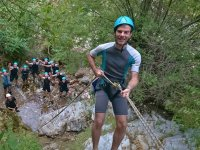 Testing the rappelling in the ravine