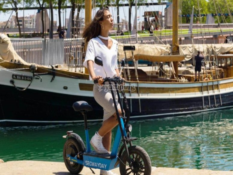 Port of Barcelona on electric scooter