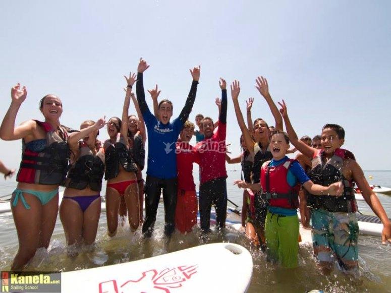 Amigos en Huelva haciendo Big Paddle