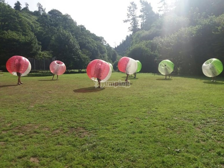 Playing Bubble Soccer