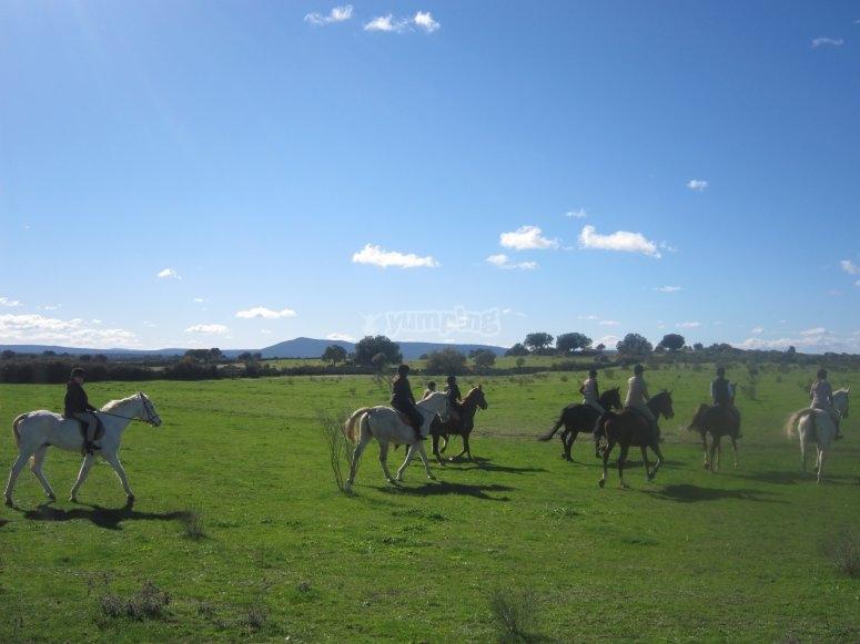 Excursión a caballo por el monte Cáceres
