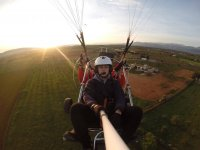 With the sun at the back, and learning to fly on a paramotor