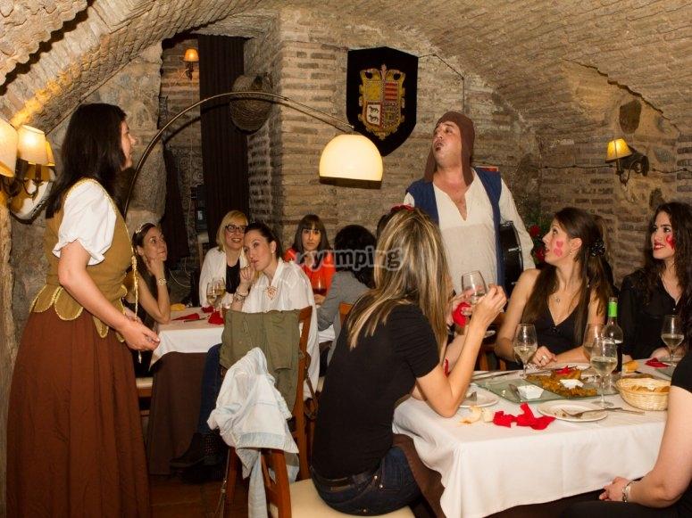 Cena en un restaurante exclusivo