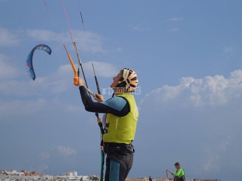 出海前与风筝一起练习