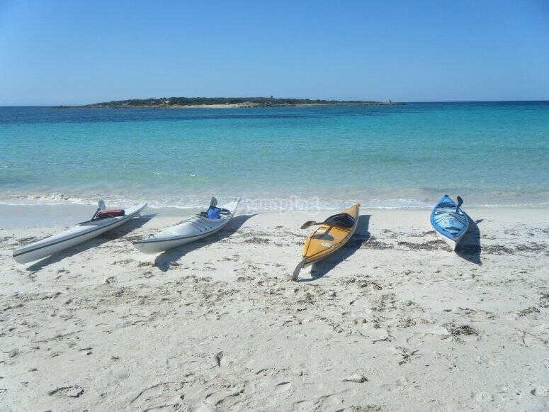 Expedition type kayaks in Es Carbó