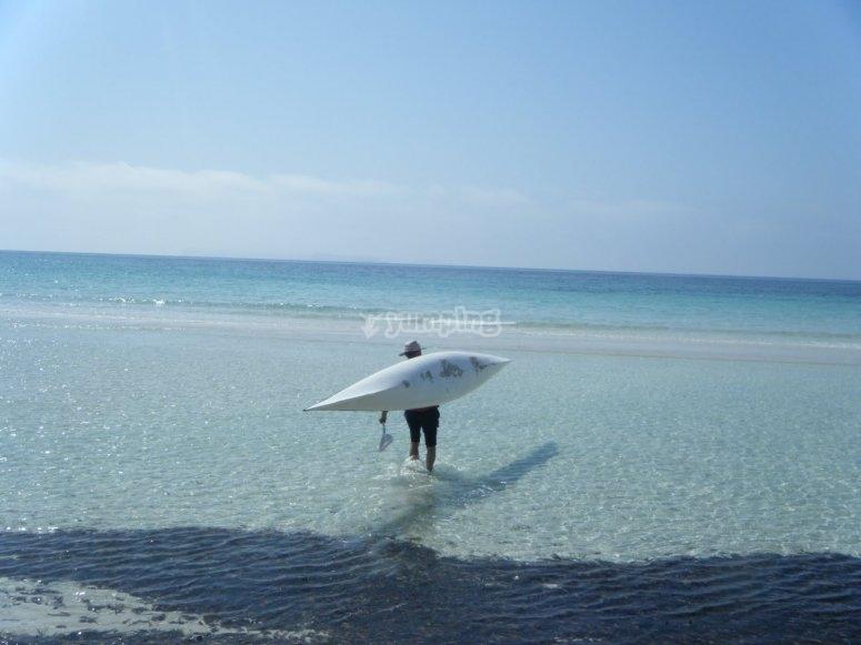 Corriol beach on a kayak