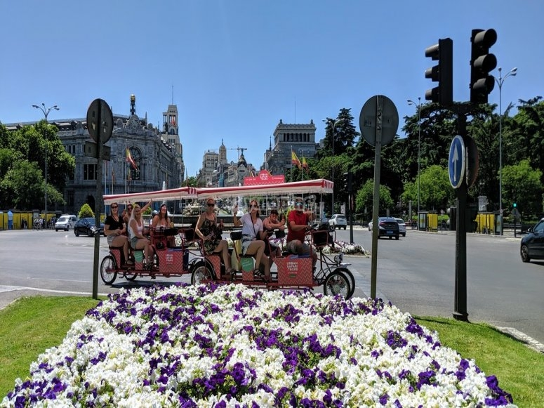 Across the centre of Madrid on the beer bike