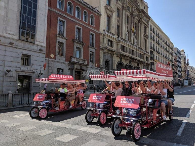Route in Madrid in beer bike