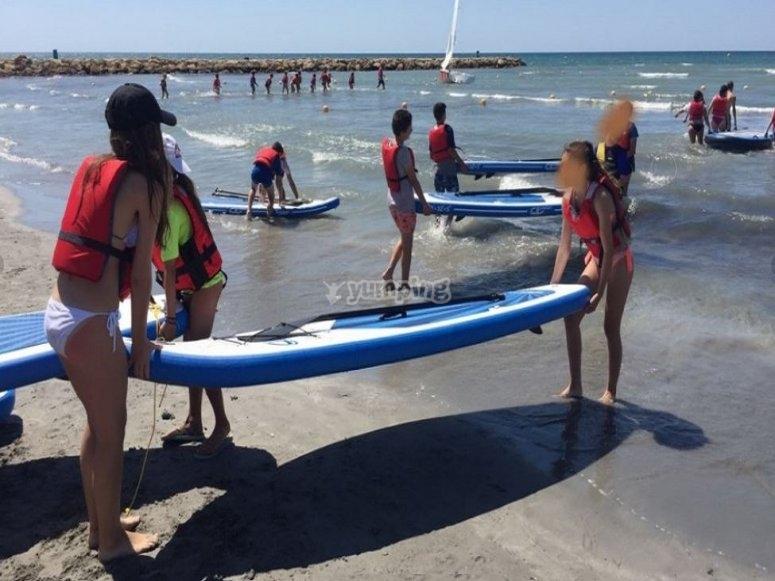 Paddle surf en el campamento