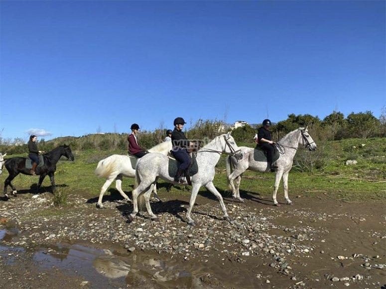 Enjoying an afternoon of horseback riding