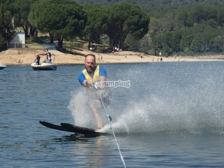 Water skiing with the motorboat