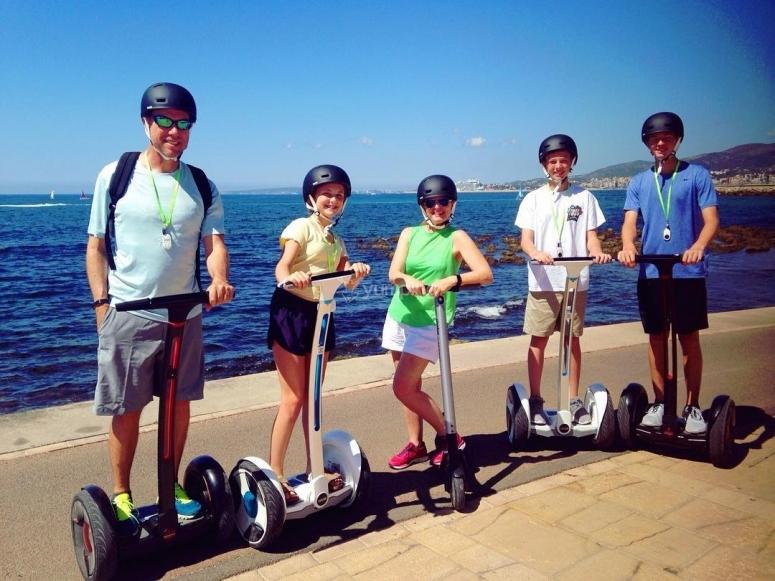 Family ride with segway through Palma