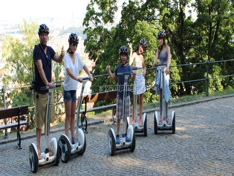 Family group in electric segway